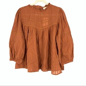 Universal Thread Cotton Peasant Blouse Brown Large